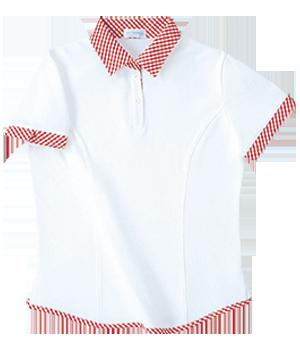 PK233 レディース半袖チェック衿シャツ