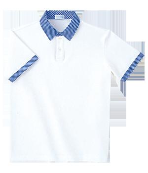 PK333 半袖チェック衿シャツ(男女兼用)